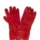 Red PVC Single Dip Glove 35cm