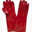 Red PVC Single Dip Glove 45cm